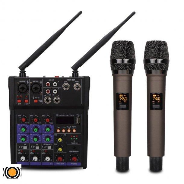 Mixer med 2 stk håndholdt mikrofoner