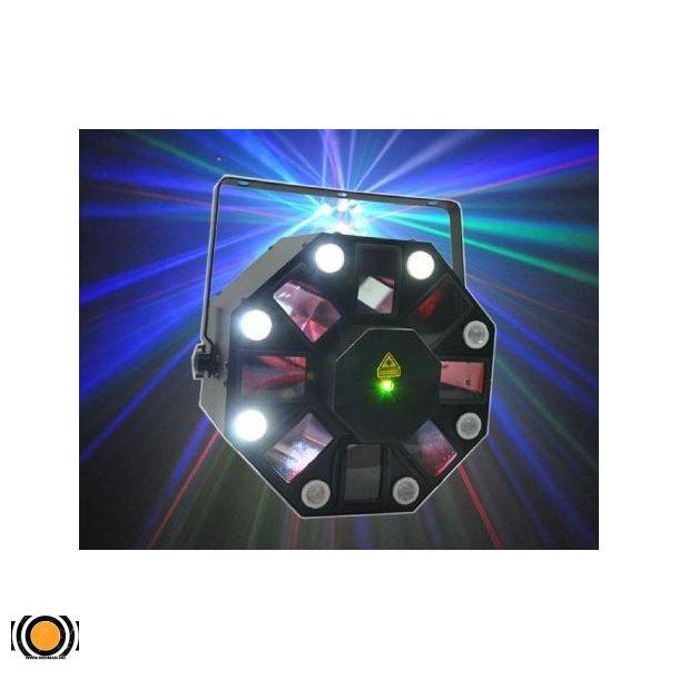 3 i 1 Strobe, LED Effekt og Laser DMX