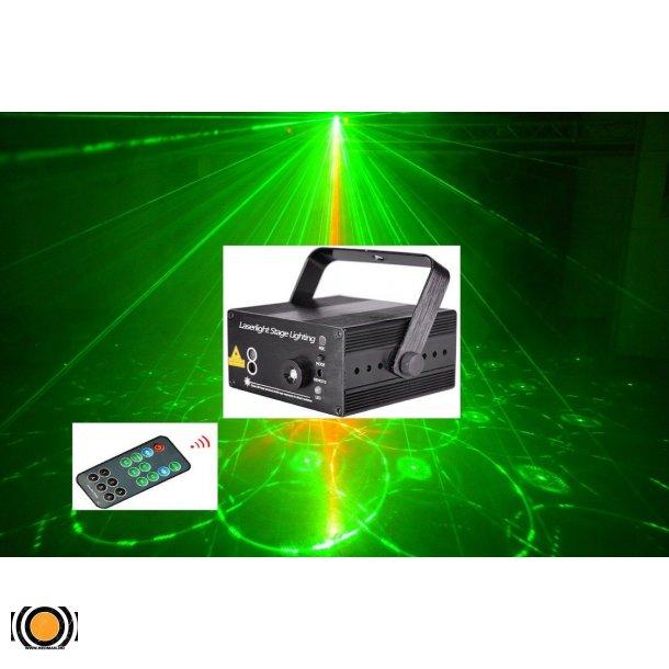Laser Rød og Grønn med Goboer og fjernkontroll