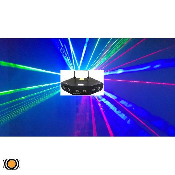 Laser 6 Linser 2*Rød, Rød, Grønn & Blå 300mW