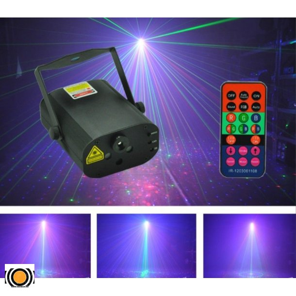 Laser Stjerne RGB 30 Figurer 300mW + 3W Blå LED + fjernkontroll