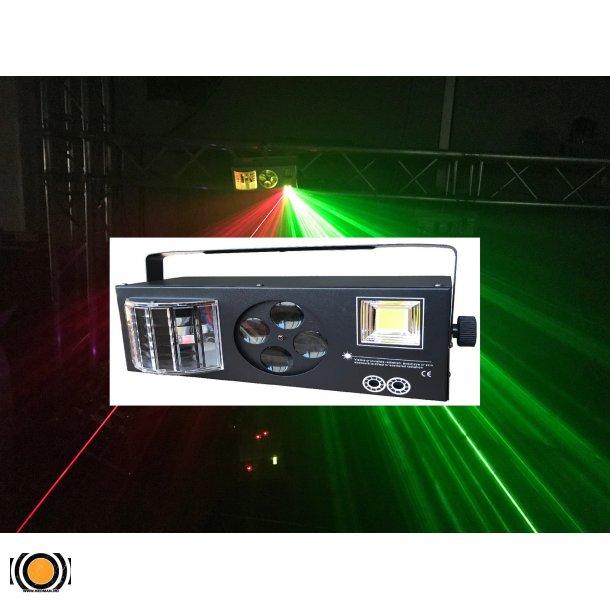 4 i 1 Strobe, LED Effekt, Goboer og Lasere