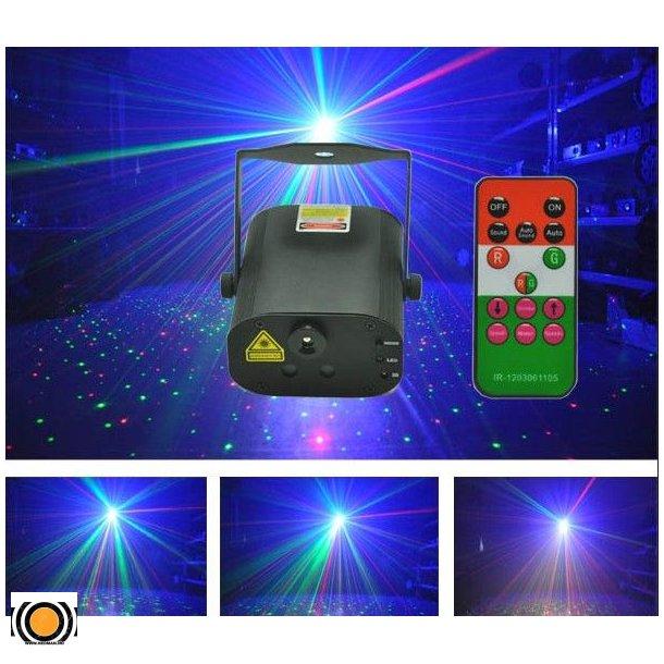 Laser Stjerne Rød&Grønn 12 Figurer 150mW + 3W Blå LED+ fjernkontroll (UTLEIE)