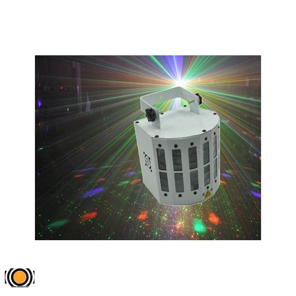 6 farger led lys m/ Rød&Grønn Laser 12 mønstre (UTLEIE)
